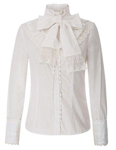 Belle Poque Damen Stehkragen Lolita Langarm Rüschen viktorianischen Bluse Weiß Größe XXL