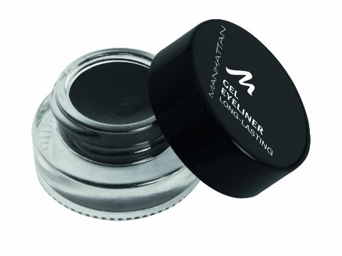 Manhattan Gel Eyeliner, Wasserfester schwarzer Eyeliner im Glastiegel in cremiger Gel Textur, Farbe Black 1010N, 1 x 3g