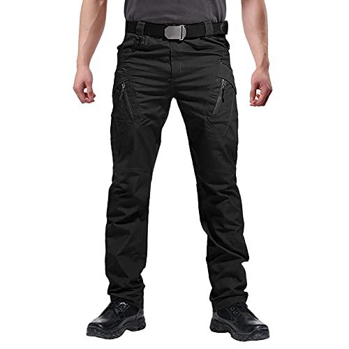 FEDTOSING Cargohose Herren Vintage Militär Tactical Hosen mit Stretch Arbeitshose Outdoor Viele Taschen Leichte Baumwolle Black 30x32