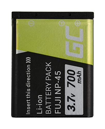 Green Cell® NP-45 NP-45A NP-45B Kamera-Akku für Fujifilm FinePix Series J10 J100 J12 J120 J15 J25 JV100 JV200 JX200 JX300 JX400 JX500, Full Decoded (Li-Ion Zellen 700mAh 3.7V Schwarz)