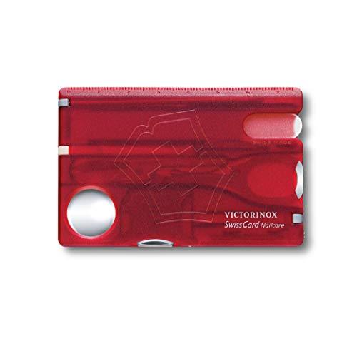Victorinox Taschenmesser Swiss Card Nailcare (13 Funktionen, Nagelfeile, Pinzette, Stecknadel, Schere) rot transparent