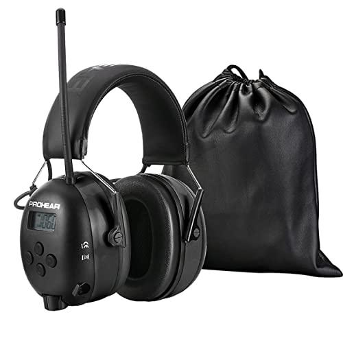 PROHEAR (Upgraded) Gehörschutz mit Bluetooth, FM/AM Radio Wiederaufbare Ohrenschützer, Eingebautem Mikrofon und Lärmreduzierung für lärmintensive Freizeitaktivitäten SNR31dB (Schwarz)