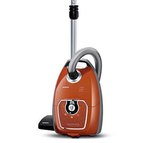 Siemens Staubsauger mit Beutel Z 7.0 family VSZ7330, ideal für Allergiker, Hygiene-Filter Plus, Bodendüse für Parkett, Teppich, Fliesen, starke Saugleistung, Fugendüse, 650 W, rot