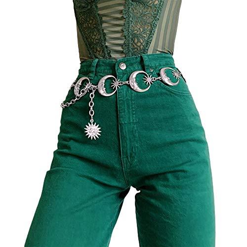 Carolilly Damen Vintage Punk Metall Taille Kette Gothic Gürtel für Frauen Mond Sonne Metallkette Silber Anhänger Hosenkette (Mond, 126 cm)