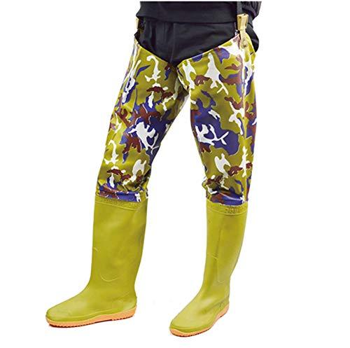 QTDZ Outdoor wasserdichte Hip Waders Stiefel Für Herren Damen, Leichte Und Atmungsaktive PVC Angeln Jagd Bootfoot, Verdicken Waten Bein Hosen Weichen Regen Stiefel, Tarnung, 80Cm,Beige,37 EU
