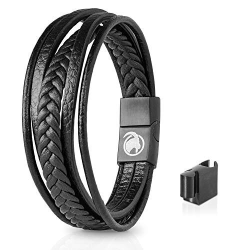 Steinbock7 Männer Lederarmband mit Magnetverschluss – Armband aus Leder in Geschenkbox (Schwarz)