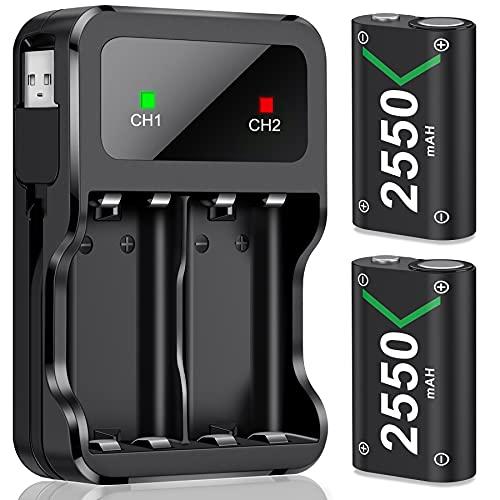 Akku für Xbox One/Series X&S Controller, 2 Stück 2550mAh Hoher Kapazität Wiederaufladbar Batterien, NI-MH Akku Kompatibel mit Xbox Series X&S/Xbox One S/Xbox One X/Xbox One Elite/Xbox One Controller