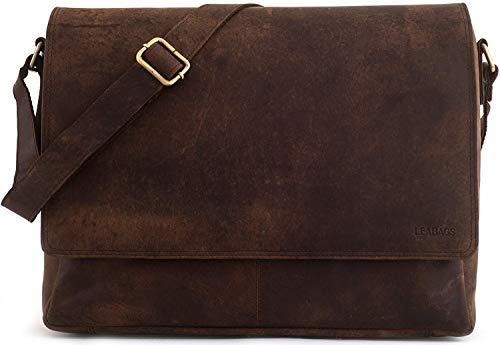 LEABAGS Oxford Umhängetasche Laptoptasche 15 Zoll aus Leder im Vintage Look, Maße (BxHxT): ca. 38x31x10 cm, Braun Like Muskat
