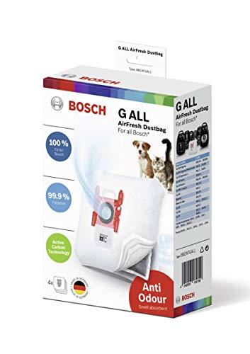 Bosch 4x Staubsaugerbeutel AirFresh Typ G ALL, BBZAFGALL, 99,9% Feinstaubfilterung, ideal für Tierbesitzer, 50 % längere Nutzungsdauer, für alle Reihen außer BSG8 und BSN