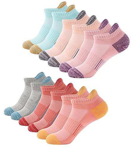 BUDERMMY Sneaker Socken Damen 6 Paar Füßlinge Baumwolle Sportsocken Atmungsaktives Kurz Socken Damen Gepolsterte Laufsocken(Mischfarbe 39-42