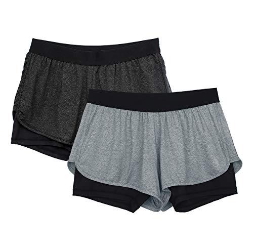 icyzone Damen Laufshorts 2 in 1 Sport Yoga Training Shorts Kurze Sporthose Laufhose 2er Pack (Black Heather/Grey, S)
