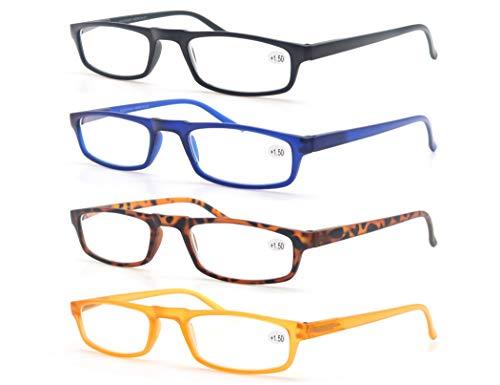 4 Pack Lesebrille 2.0 Herren/Damen,Gute Brillen,Hochwertig,Komfortabel,Rechteckig,Super Lesehilfe,fur Manner und Frauen
