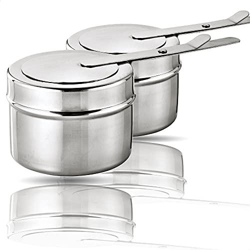 Kerafactum® - 2 Stück Brennbehälter Brennpaste Brennpastenbehälter Behälter für Fondue Speisewärmer oder Chafing Dish 2 teilig aus Edelstahl - chafer fuel holder