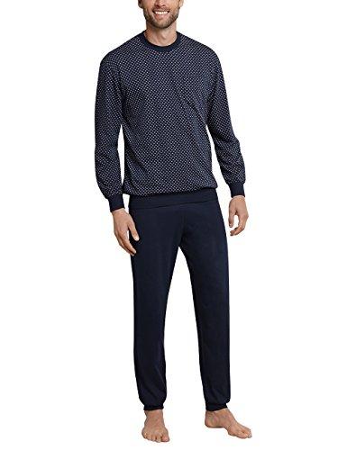 Schiesser Herren Schlafanzug lang mit Bündchen, Blau (Dunkel blau 803), XXXXX-Large (Herstellergröße: 062)