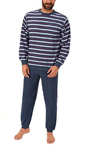 Eleganter Herren Frottee Pyjama Schlafanzug lang mit Bündchen - auch in Übergrössen 61505, Größe2:56, Farbe:blau