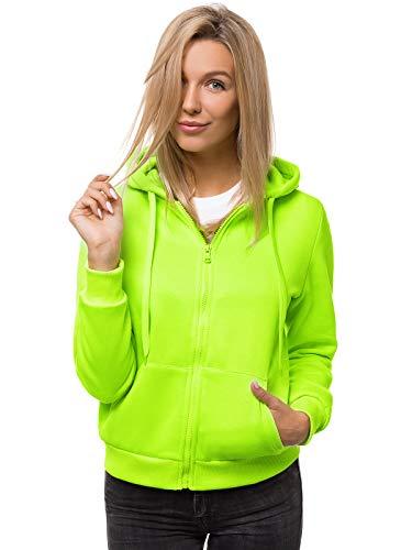 OZONEE Damen Kapuzenpullover Sweatjacke Sweatshirt Farbvarianten Kapuzenjacke Kapuzenpulli Langarm Kapuze Hoodie Sport Style Casual Fitness Basic Training JS/W03 GRÜN-NEON M