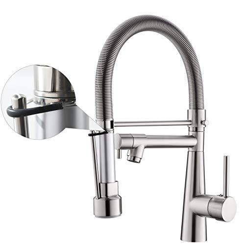 TIMACO Wasserhahn Küche mit Schloss Brause Ausziehbar - 360° Schwenkbar Küchenarmatur mit Spiralfeder,Einhebel Mischbatterie & Pull-Down-Spray - Hochdruck Spültischarmatur-Gebürstetes Nickel