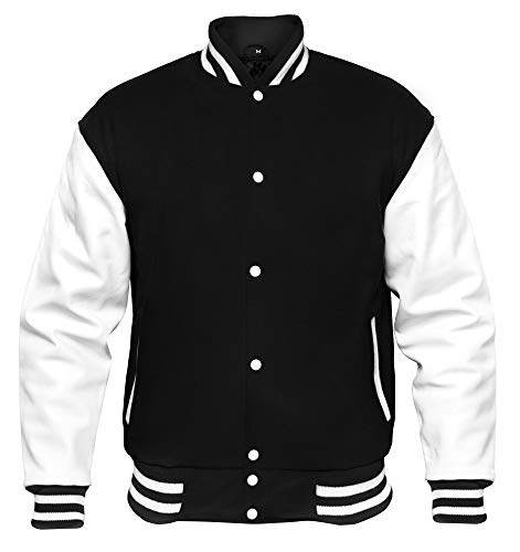 VINTAGE BASICS College Jacke - Unisex Baseball Jacke - Oldschool Varsity Jacke aus Wolle für Herren und Damen Schwarz L