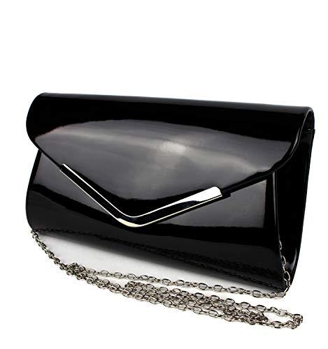 Schompi Vintage Damen Lack-Tasche Abendtasche Clutch Bag mit abnehmbarer Schulterkette Kettentasche, Farbe:Schwarz