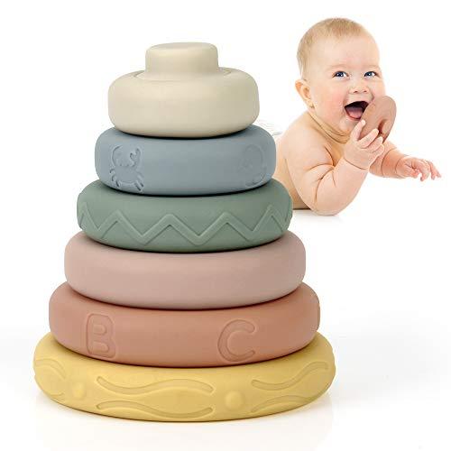 Mini Tudou 6 Stück Stapelspielzeug mit Ringen,Stapelturm& Beißringe für Stapelspiel,Squeeze-Spielzeug mit Früherziehung, Spielzeug Jungen und Mädchen ab 6 Monate