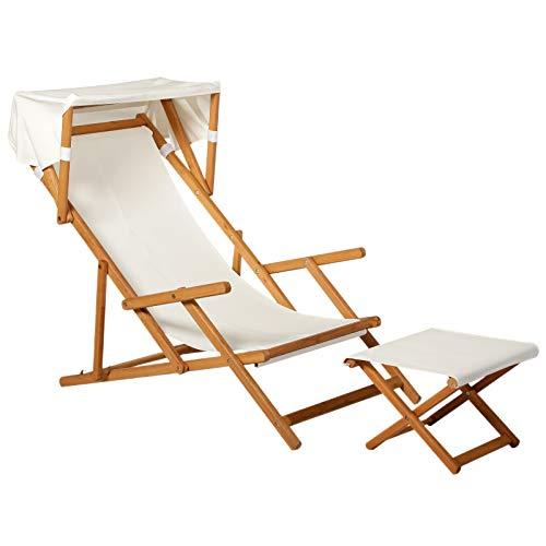 Outsunny Sonnenliege Gartenliege Relaxliege verstellbar Liegestuhl Relaxsessel Gartenmöbel mit Sonnendach Hocker Akazie + Polyester Natur+Weiß 126 x 70 x 94cm