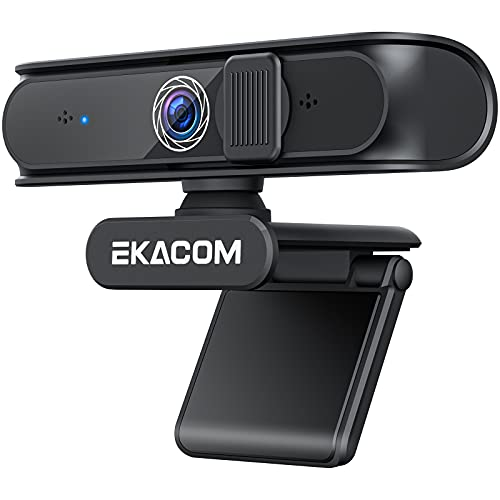 EKACOM Webcam mit Mikrofon, 1080P USB Webkamera für PC, Streaming-Kamera mit Objektivabdeckung und Autofokus, HD-Webcam für Teams, kompatibel mit Windows/Mac/YouTube/Zoom/Skype