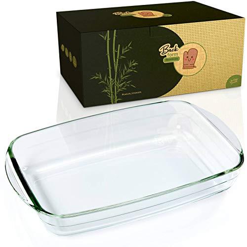 bambuswald© nachhaltige Ofenform aus Borosit-Glas | Bräter erhältlich mit 3,6Liter Füllmenge - nachhaltig & langlebig - recheckige große Auflaufform ideal für Lasagne,Tiramisu & Aufläufe