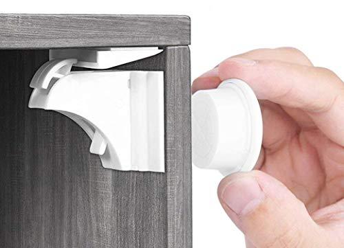Babysicherheit Magnetisches Schrankschloss 10 Schlösser mit 2 Schlüssel, unsichtbare Kindersicherung für Schrank und Schubladen, ohne Bohren und Schrauben - Norjews