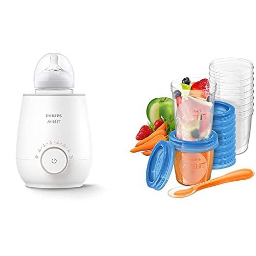 Philips AVENT SCF358/00 Flaschenwärmer für schnelles und gleichmäßiges Erwärmen von Milch & Babynahrung, weiß & Aufbewahrungsbecher für Babynahrung, 20er Pack (10x180 ml, 10x 240 ml)