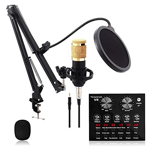 rzoizwko Streaming Mikrofon, Kondensator Mikrofon Set, Studio Mikrofon Kit Mit Sound Mixer, Mikrofon Set für PC, Karaoke, Streaming, YouTube, Podcast