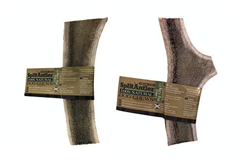 Highland Gespaltener Hirschgeweih Geweihstück Groß Geweih Knochen 2 natürliche Kauspielzeuge Zahnpflege für Hunde Kausnack Geweih Kauknochen