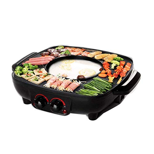 Falehgf Grill Und Hot Pot Doppeltopf, Integrierte Kochtopf, 40.5 cm Grillplatte, Elektrogrill Barbecue Und Asia Fondue 1700 W, Schwarz