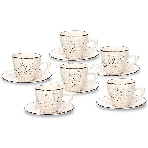 Tognana Louise Stay Espressotasse mit Untertasse im Set a 6 Stück, beige mit dezentem brauen Farbdekor, aus Steinzeug