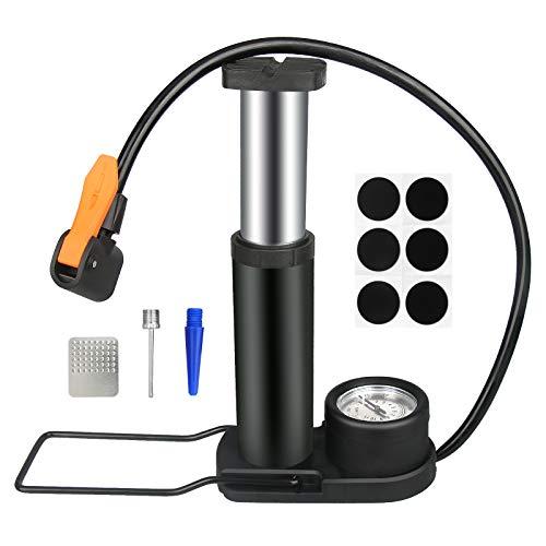 TEHEO Fahrradpumpe universale Fußpumpe [160 PSI] tragbare Mini Luftpumpe für Reifen mit Presta- und Schrader-Ventil oder Fußball, Basketball, Schwimmring, aufblasbares Spielzeug
