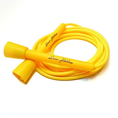 Honor Athletics Speed Rope Springseil – am besten für Double Under, Boxen, MMA, Cardio Fitness Training – Verstellbares 3 m – Springseil (gelb)