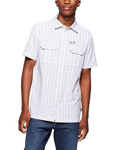 Jack Wolfskin Herren Schnelltrocknendes Outdoor Hemd Kurzarm Thompson Shirt Men, White Rush Checks, XL, 1401042-7508005