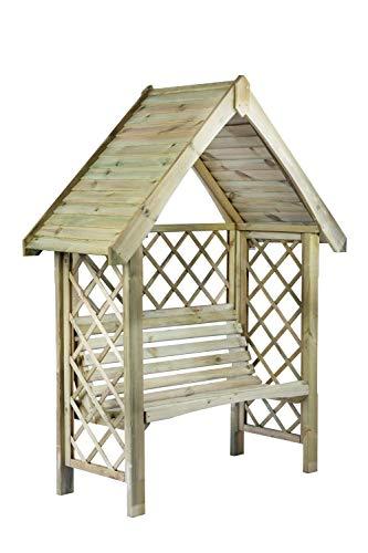 G&C Oxford – Gartenpergola aus Holz mit Bank für 2 Personen – Doppelbalken oben – Maße: h220 cm x 158 cm x 60 cm – Seitengitter