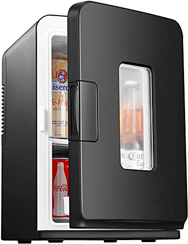 Mini-Kühlschrank, 15-Liter Schönheitskühlschrank mit Kühl- und Heizfunktion, 12V DC/220V AC Kühlschrank für Hautpflege, Schlafzimmer und Reisen, einschließlich abnehmbarer Regale(ECO-Modus)