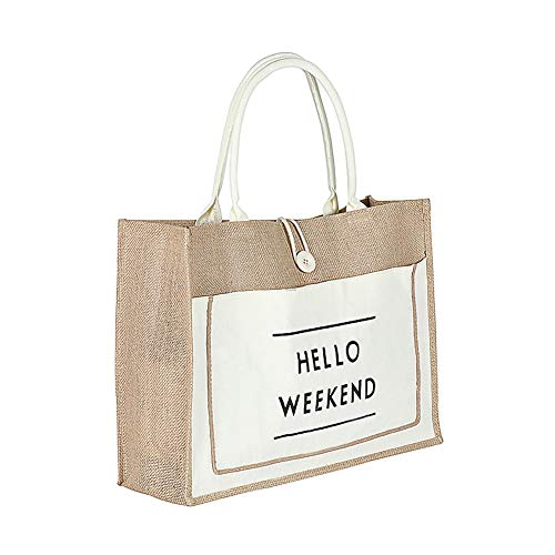 Vlov Damen Einfach Flachs Tote Schultertasche Große Kapazität Retro Handtasche Wasserdicht Futter Einkaufstasche (Weiß, L)