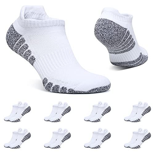 BUTTBILL Sneaker Socken Damen 35-38 Weiß Kurze Socken 8 Paar Sportsocken Herren Baumwolle Atmungsaktive Gepolsterte Laufsocken Unisex