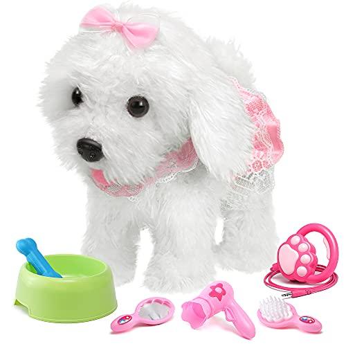 OR OR TU Fernbedienung Elektronisch Plüschwelpe Spielzeug Haustier für Mädchen,Interaktives Spielzeug Haustier Hund Tiere Realistisches Geburtstagsgeschenk für 2 3 4 5 6 7 8+ Jahre alt