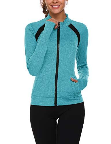 Parabler Laufjacke Damen Sportjacke Trainingsjacke voll Reißverschluss Trainingsanzug mit Daumenloch und Seitentasche Fitness Grün HellGrün XXL