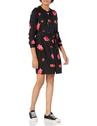 Amazon Essentials Long-Sleeve Banded Collar Shirt Dress Hemd, Blumenmuster in Rosa und Schwarz, XXL