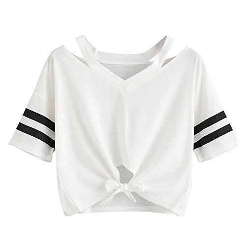 YEBIRAL Damen Sweatshirt, Teenager Mädchen Kurzarm T-Shirt Bauchfrei Oberteil Kurz Sommer Strand Casual Crop Tops V-Ausschnitt Bluse mit Schleife(M,Weiß)