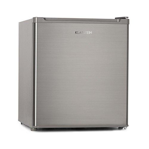 Klarstein Garfield Eco - Mini Kühlschrank mit 34 L Nutzinhalt, kleiner Kühlschrank, 4-Sterne-Gefrierfach, Minikühlschrank mit 2 Ebenen, 41 dB, ca. 44 x 52 x 47 cm (BxHxT), silber
