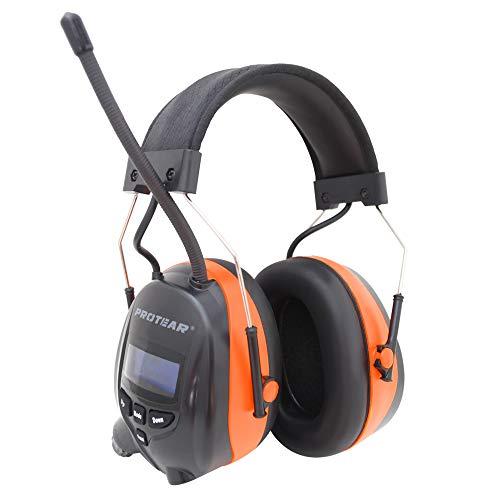 PROTEAR (Aktualisierte Versiont) Gehörschutz mit DAB + / FM-Radio und Bluetooth 5.0, kabellose Kopfhörer mit Geräuschunterdrückung für die Werkstatt, Garten/Mähen, CE-zertifiziertes SNR 30dB
