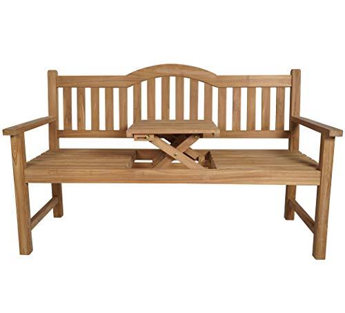 KMH®, 3-sitzer Gartenbank (152 cm) aus Teakholz (mit integriertem, einklappbarem Tisch) (#102019)
