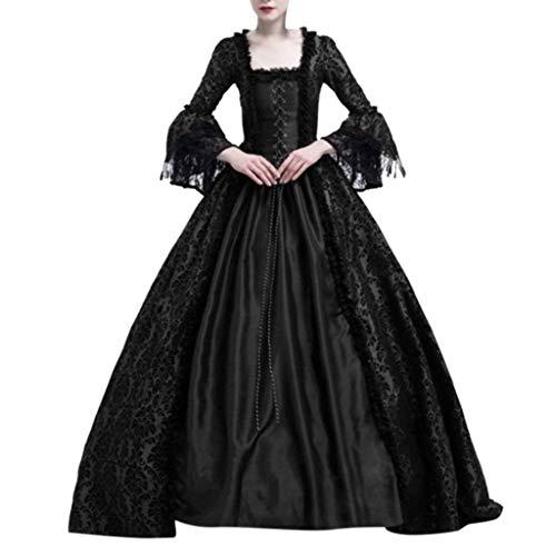 Riou Damen Mittelalter Kleid Gothic Steampunk Vintage Renaissance Adels Palast Prinzessin Maxikleid für Hochzeit Karneval Fasching Party