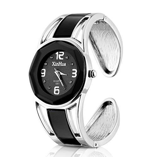 ele ELEOPTION Armband Design Quarz Uhr mit Strass Dial-Edelstahl-Band für Frauen (Schwarz)