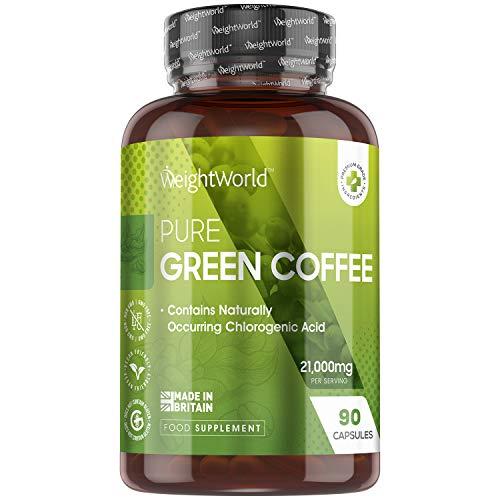 Grüner Kaffee Kapseln - 7000mg je Kapsel - Mit Chlorogensäure & Koffein - Vegan & Vegetarisch - 90 Kapseln - Natürliche & Geprüfte Inhaltsstoffe - Green Coffee - Von WeightWorld